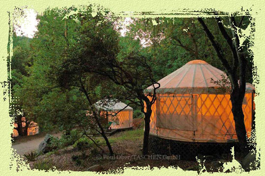 Yurt Village at night, White Lotus Retreat